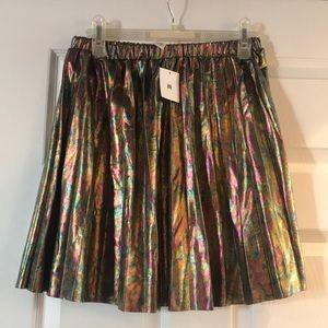 NWT Urban oil spill pleated gold skirt
